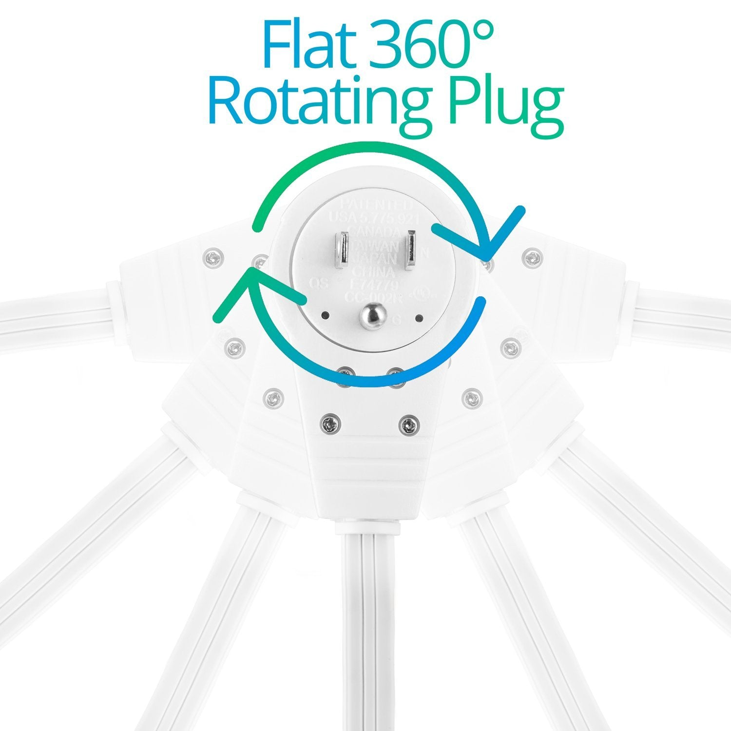 Maximm Cable 25 Ft 360 Rotating Flat Plug Extension Cord Wire Mult Wiring A Ceiling Fan To Multi Outlet