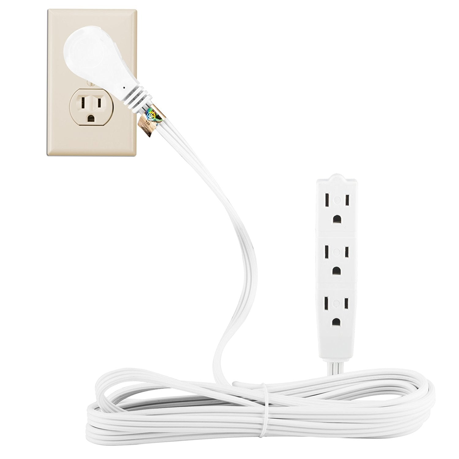 MAXIMM 6 Feet Flat Plug Extension Cord / Wire, 3 Outlet Electrical ...
