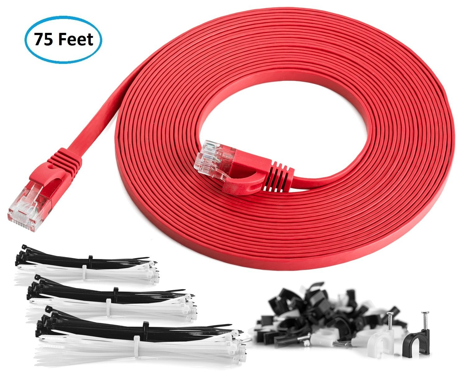 Cat6 Flat Ethernet Patch Cable 75 Feet High Speed Internet Lan Catalog Product Computer Cables With Snagless