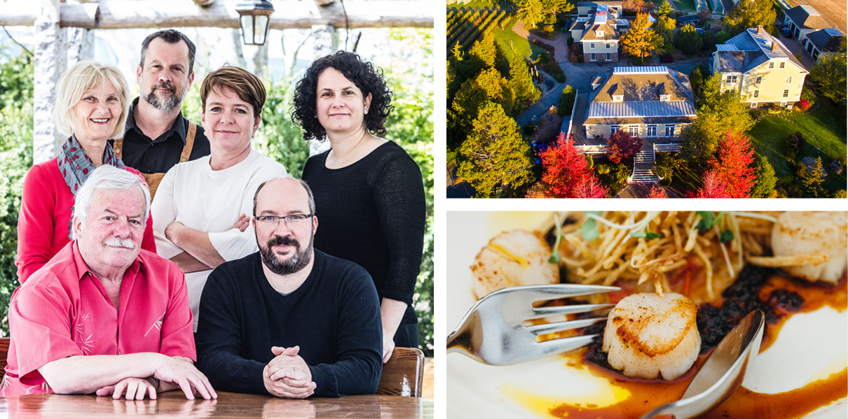 A collage of photos including the family, an aerial scenery shot and a plated scallops dish
