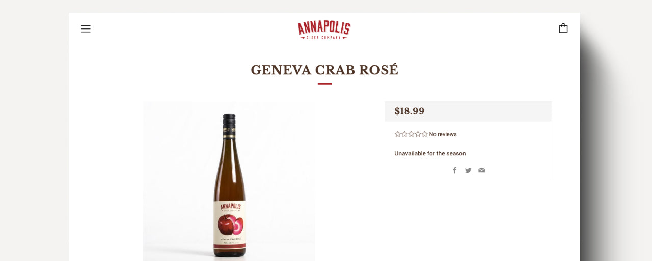 Screenshot of cidery website product page