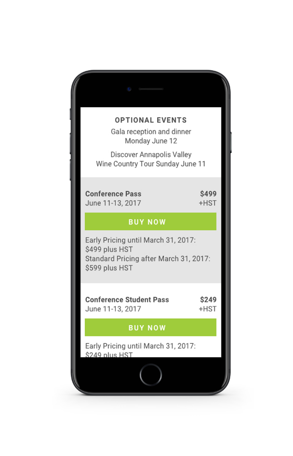 Screenshot of mobile phone showing ticket purchase page