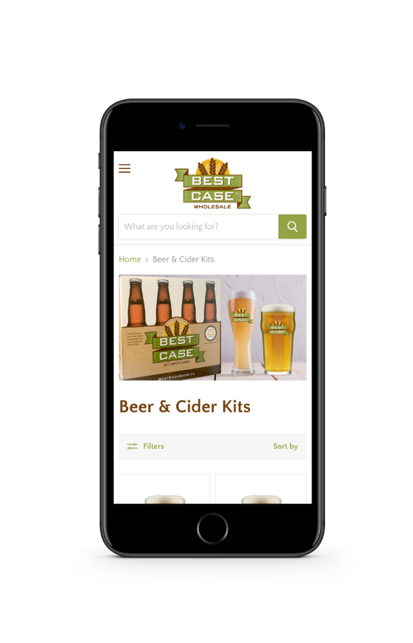 Image of mobile phone showing distillery merchant website category page