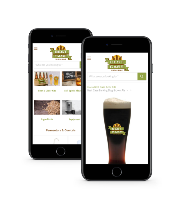 Image of mobile phone with a distillery merchant website on them