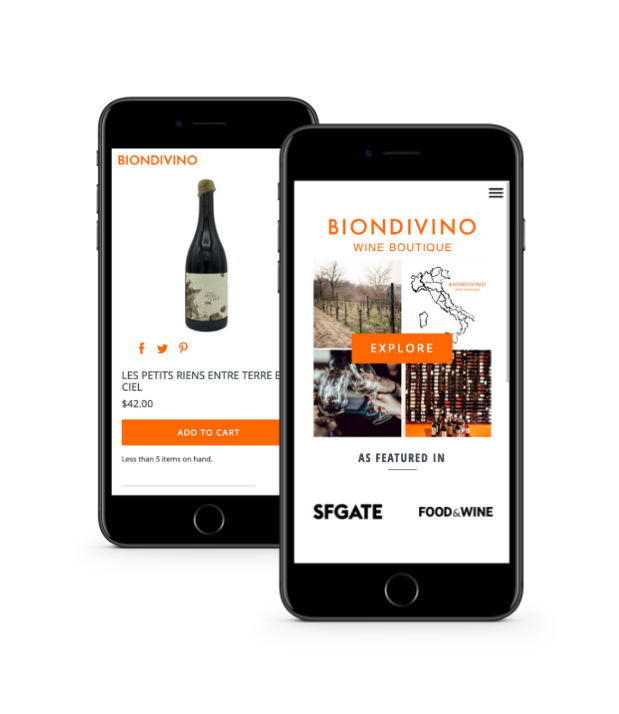 Image showing mobile phones with wine store website