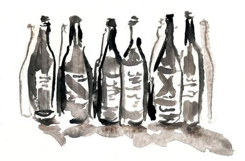 Watercolour illustration of wine bottles in a group