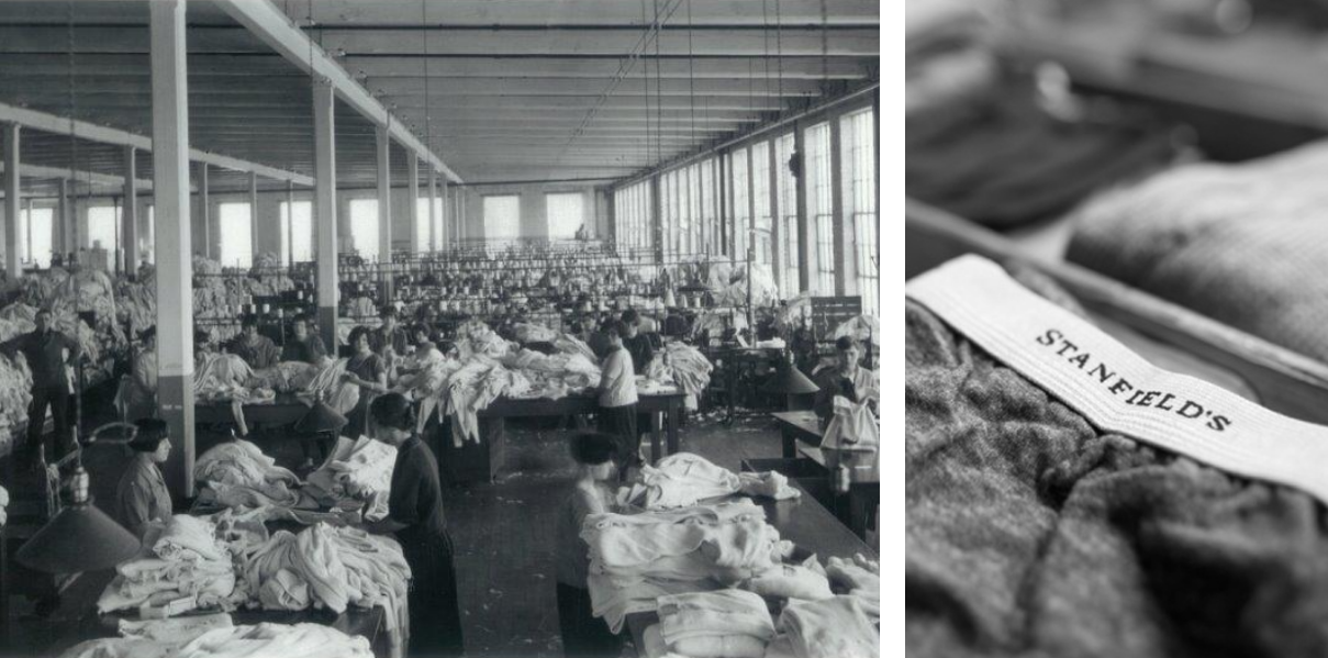 Black and white collage of Stanfield's factory and product