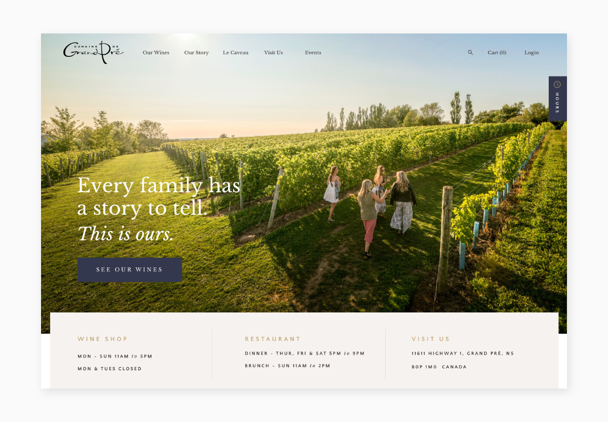 A screenshot of Grand Pré's new homepage