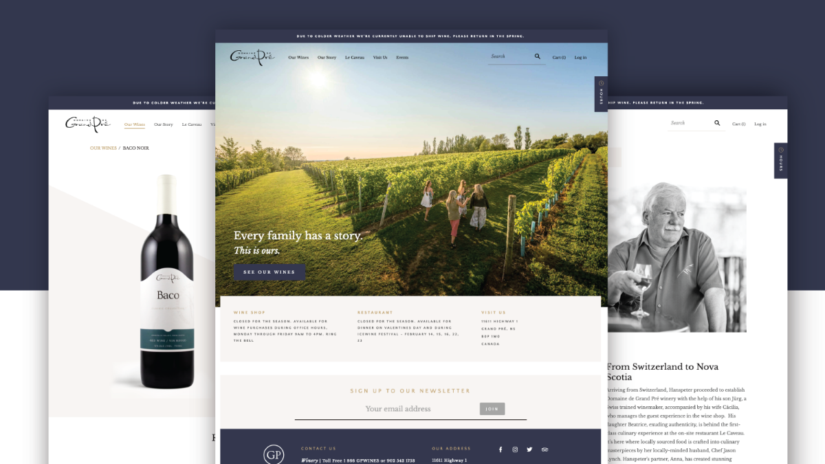 Screenshots of Domaine de Grand Pré's website