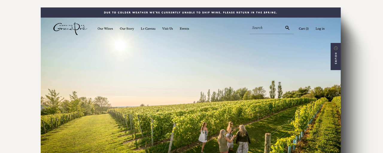 Screenshot of Domaine de Grand Pré's homepage