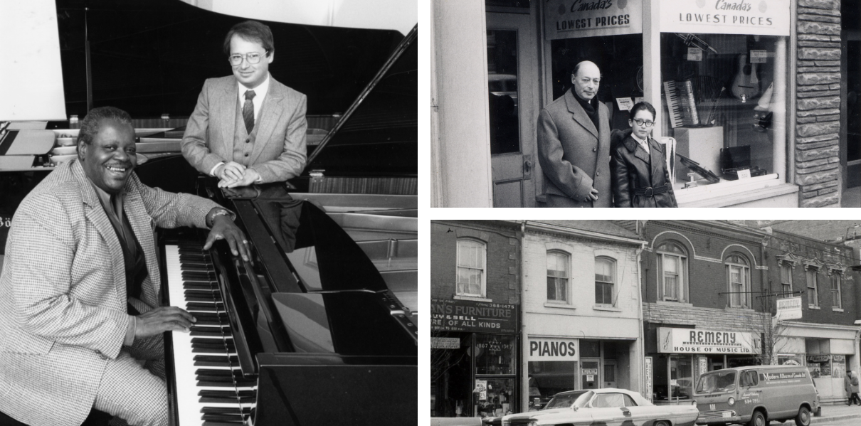 Collage of images including vintage photo of Count Basie playing piano at Remenyi House of music and Remenyi family members outside storefront.