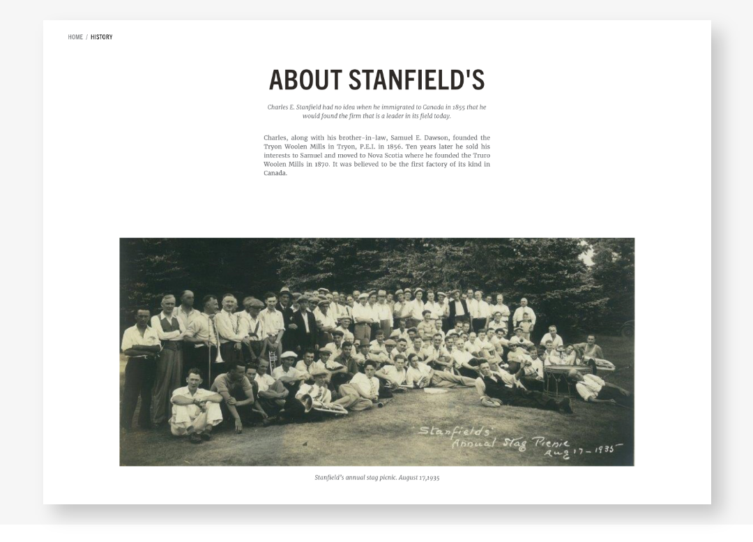 Screenshot of Stanfield's history page