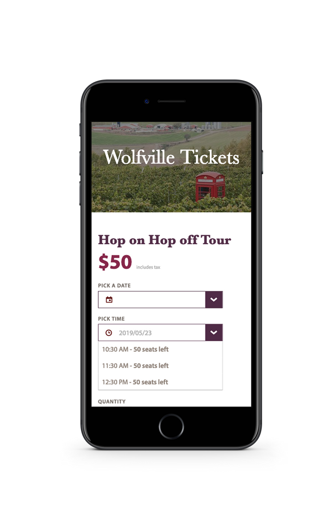 Image of mobile phone with wine bus tour website