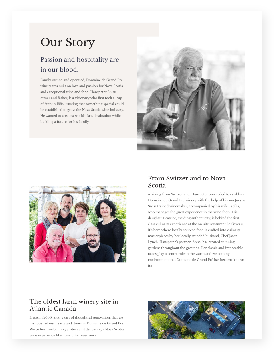 Screenshot of Our Story page from Grand Pré's website