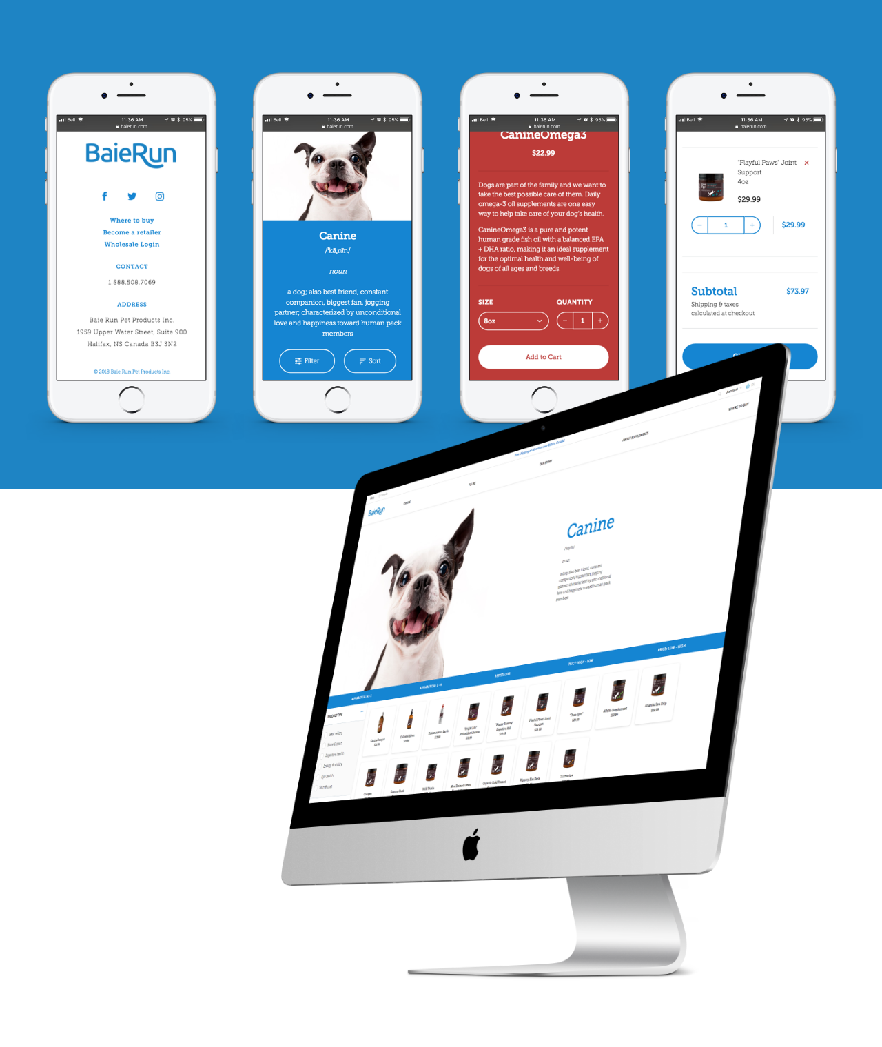 Screenshots showing the Baie Run Pet Products Shopify Plus Website.