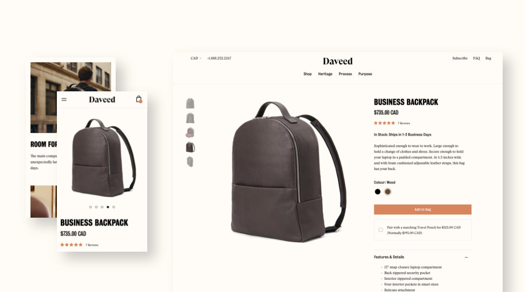 Screenshots of backpack product page on small and large screens