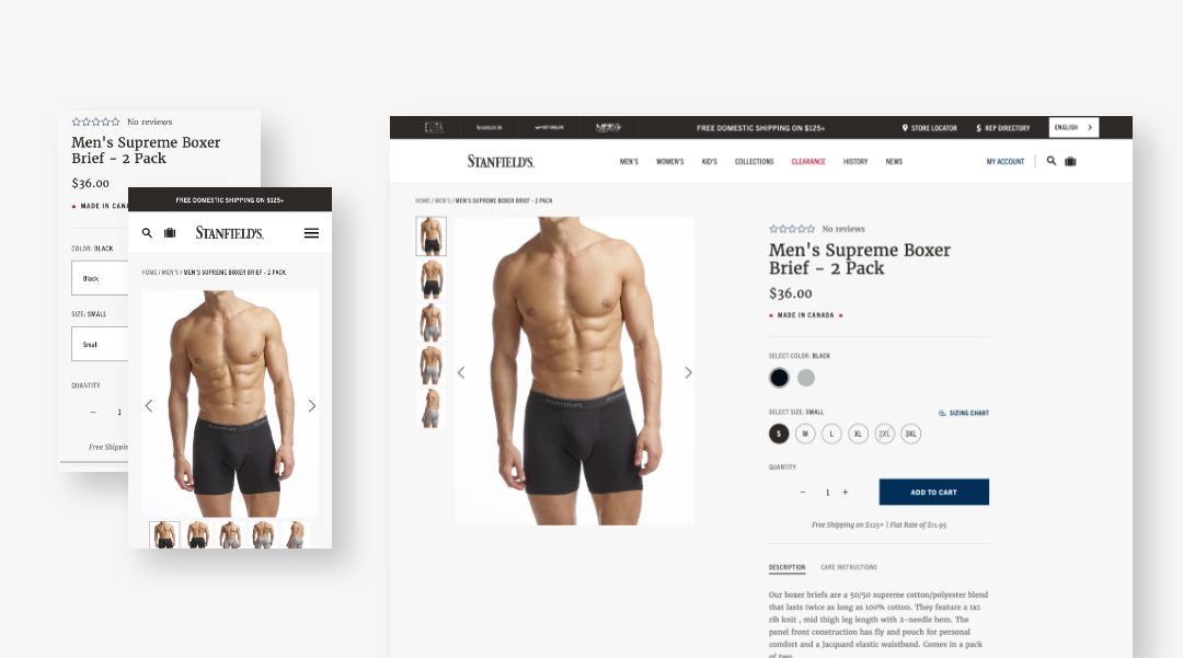 Responsive screenshots of product detail page
