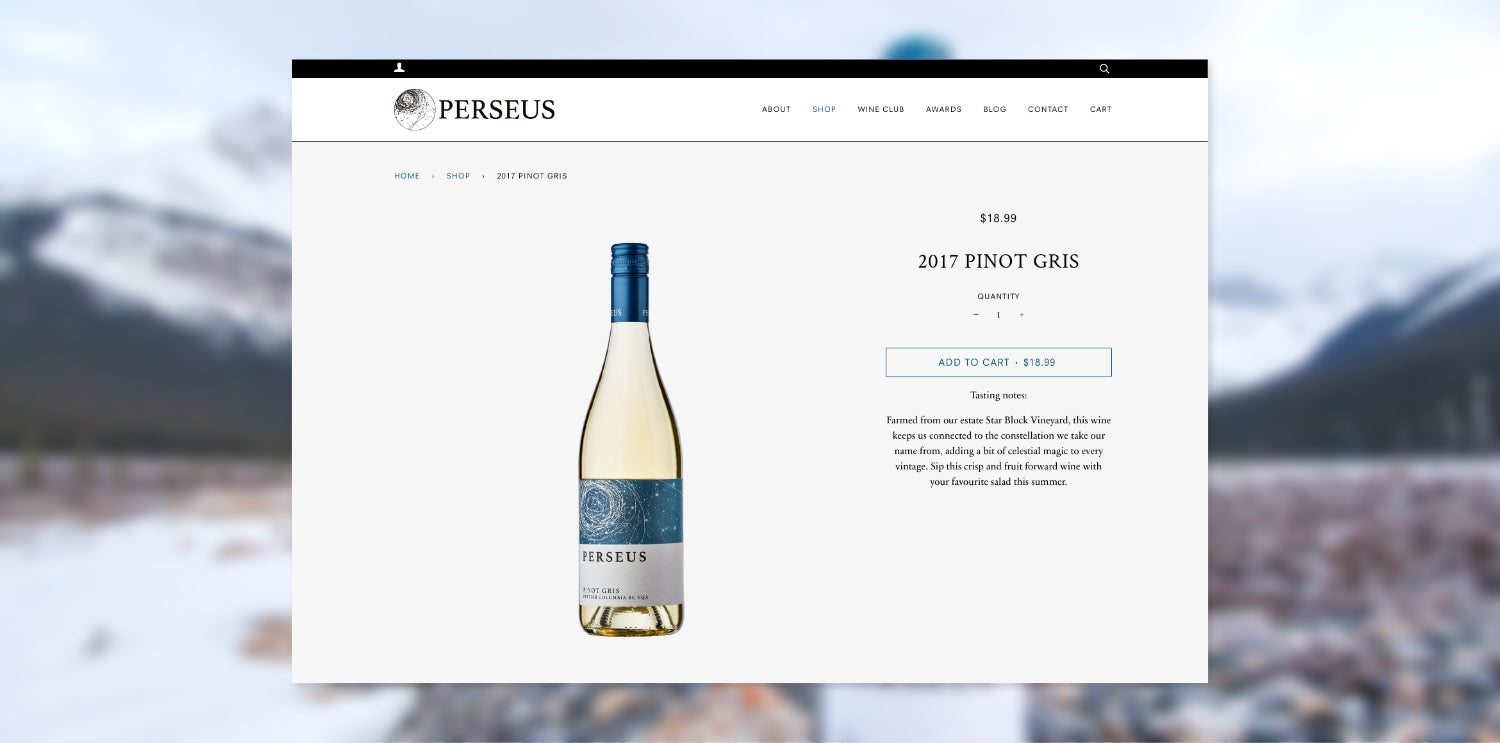 Screenshot of 2017 Pinot Gris product page