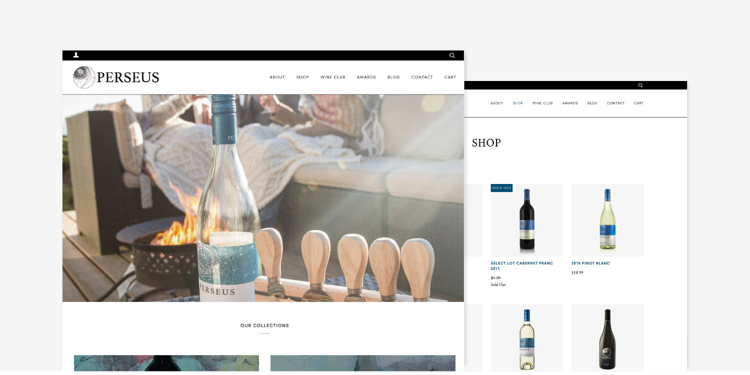 Screenshots of Perseus Winery website homepage and shop page
