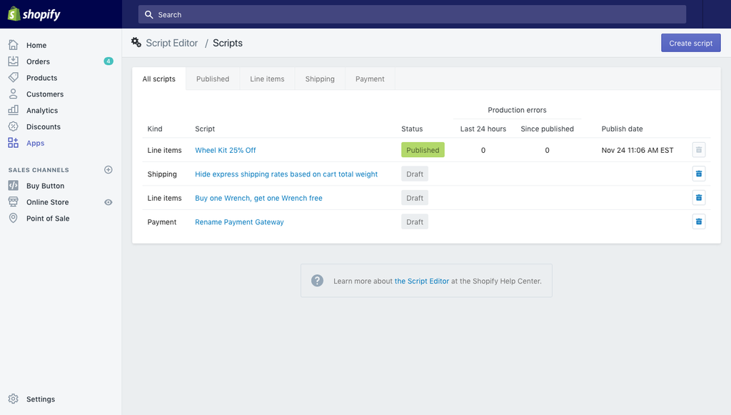 Screen shot of Script Editor App in shopify admin