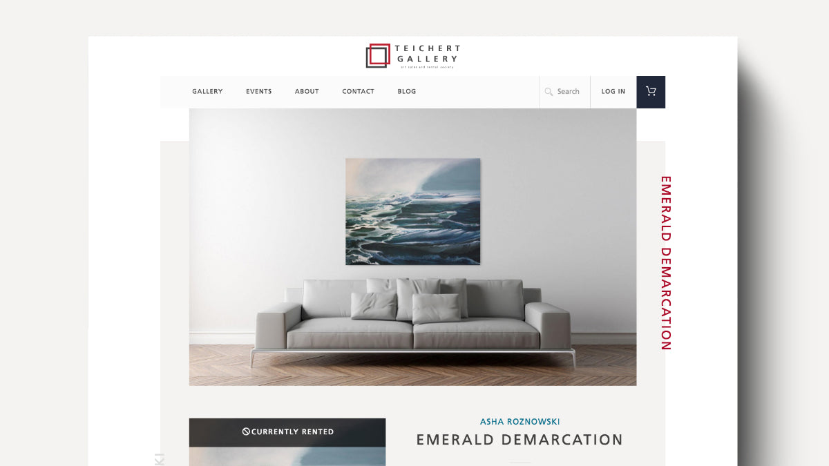 Screenshot Teichert Gallery website showing art placed above sofa