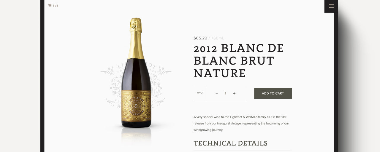 Image of screenshot showing wine product page