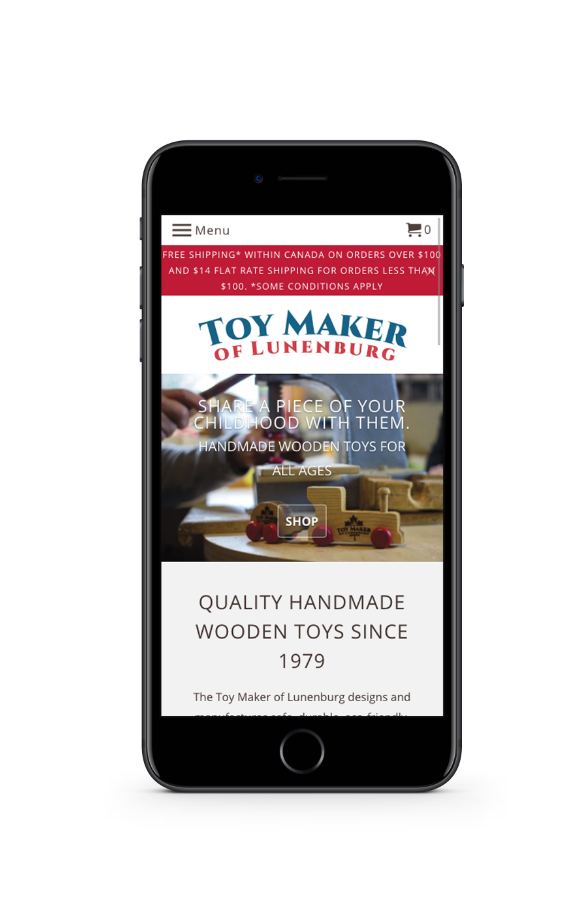 Toy Maker of Lunenburg website on mobile