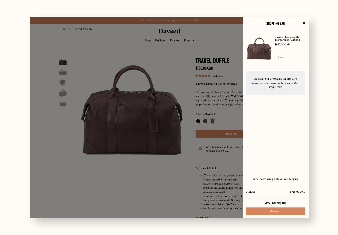 Screenshot of travel duffle bag product page with shopping cart open on side