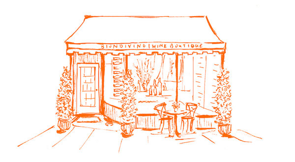 Hand-drawn illustration of the Biondivino storefront