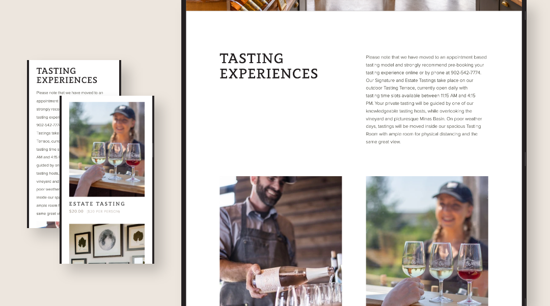 Preview of responsive tasting experience pages