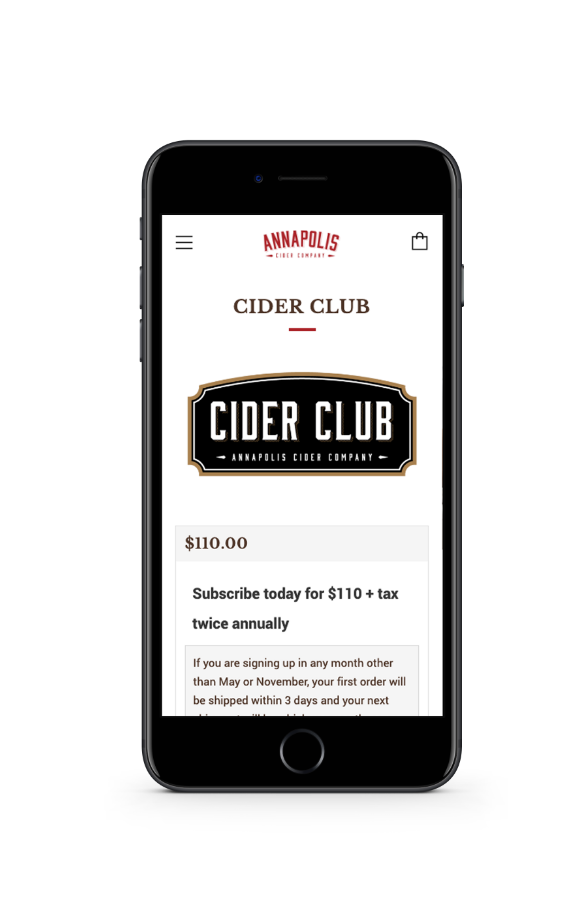 Screenshot of cider club website on phone