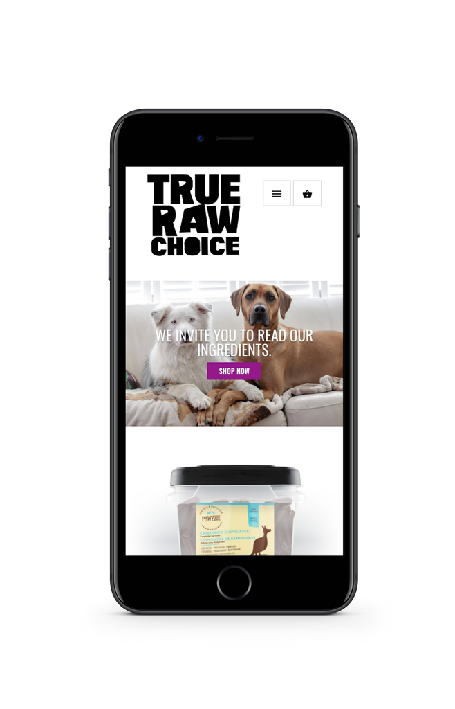 Image of mobile phone showing pet supplement website