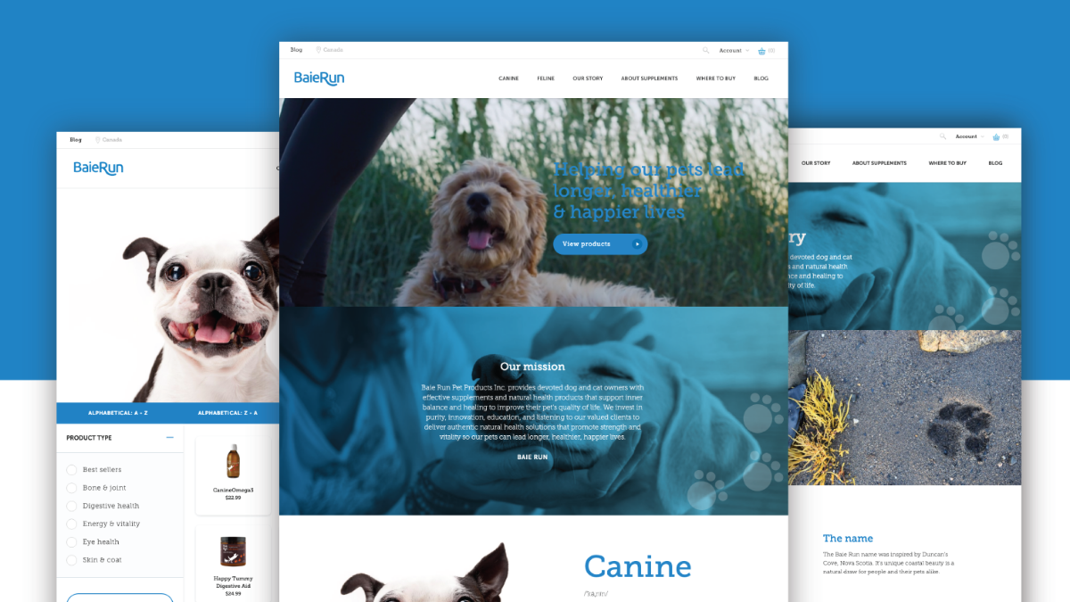 Large image with screenshots of pet supplement websites