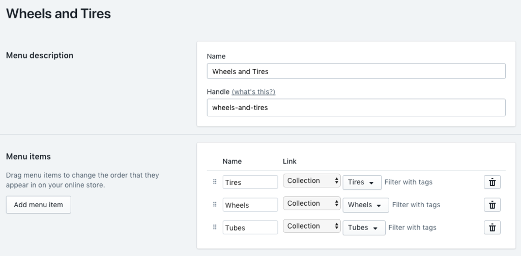 Screenshot of navigation menu admin page in shopify