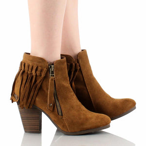 91102179c1 Suede Chunky Heel Ankle Bootie w  Fringe-Camel