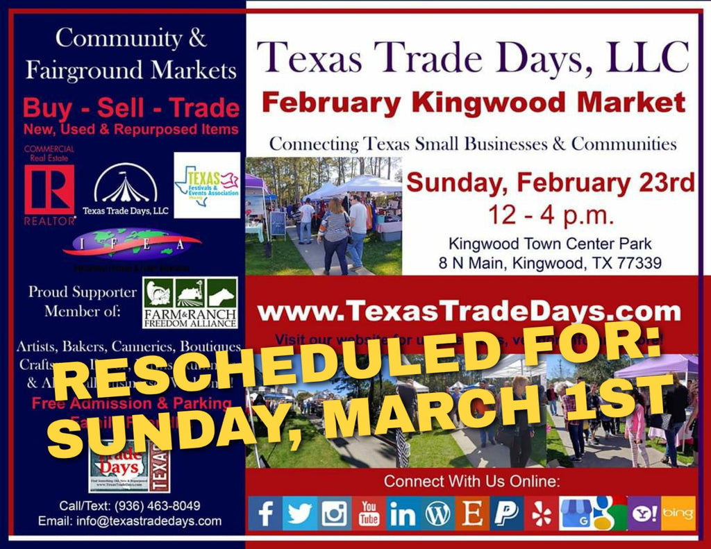 FEB 23rd RESCHEDULED: Sunday, March 1st