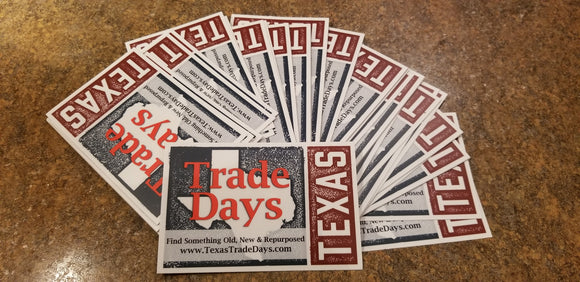 Texas Trade Days Car Window Decal Souvenir