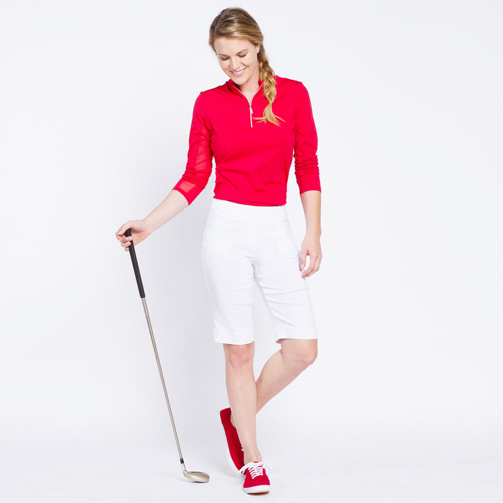 Pull On Solid Golf Walking Short - White