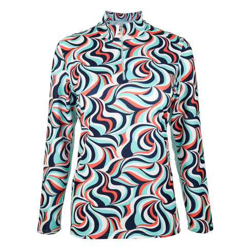 Swirl Print Long Sleeve Mock