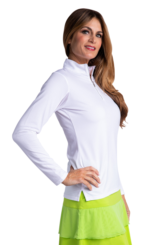 Bette & Court Long Sleeve Swing Mock- White