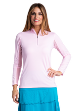 Bette & Court Long Sleeve Swing Mock - Pink