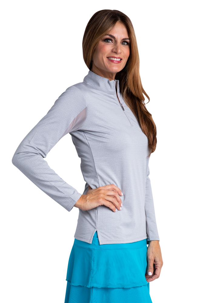 Bette & Court Long Sleeve Swing Mock - Feather Gray Heather