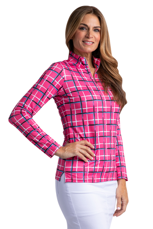 Tartan Long Sleeve Print Polo
