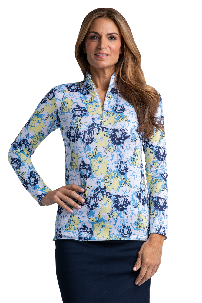 Magnolia Long Sleeve Print Polo