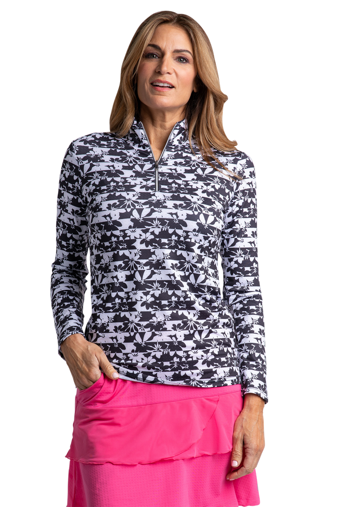 Flora Long Sleeve Print Polo