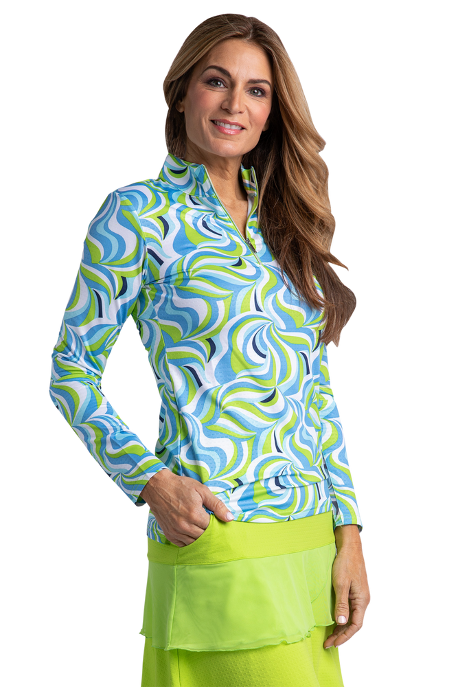 Groovy Long Sleeve Print Polo