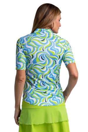 Groovy Elbow Sleeve Print Polo
