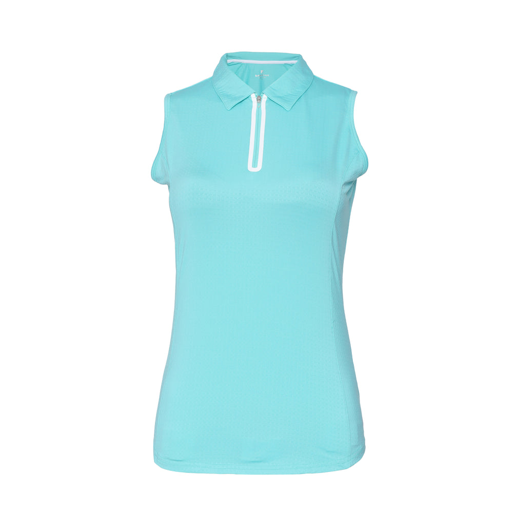 Utopia Sleeveless Solid Polo - Aqua
