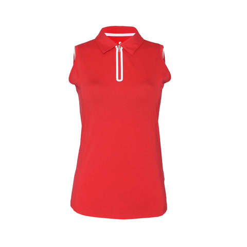 Utopia Sleeveless Solid Polo - Crimson