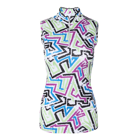 Frill Sleeveless Print Polo
